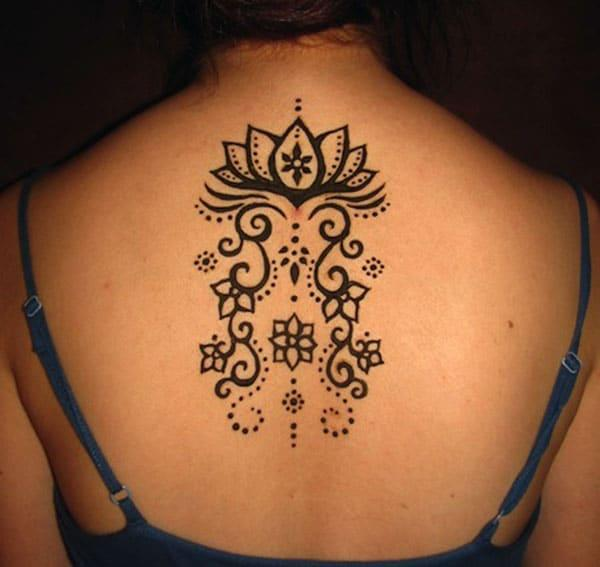 lotus and creepers Mehandi design on back