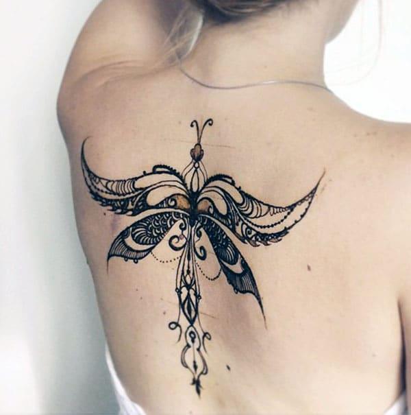 modern art butterfly Mehendi design on back