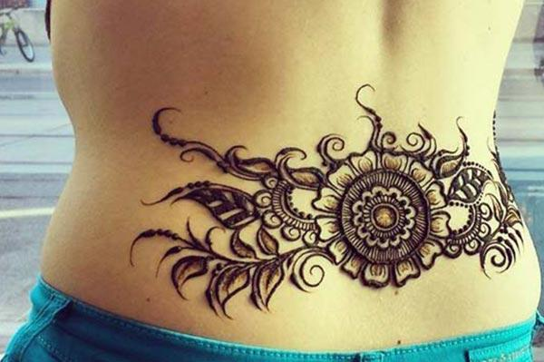 flower and leaves mehndi design for lower back