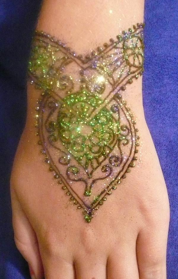 glitter mehndi design for wrist