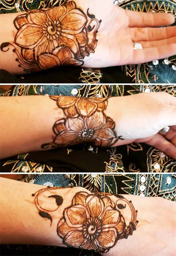 flower bracelet mehndi design for wrist
