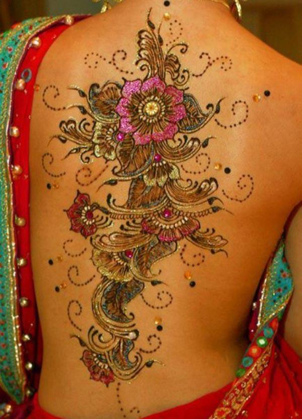 floral pattern mehndi design for back