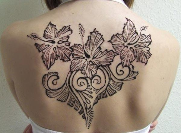 flowers and leaves mehndi design for back