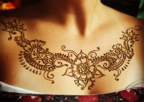 flower and artistic pattern mehndi design for chest