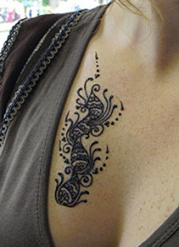paisley mehndi design for chest