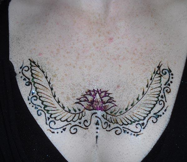 lotus and wings mehendi design for chest