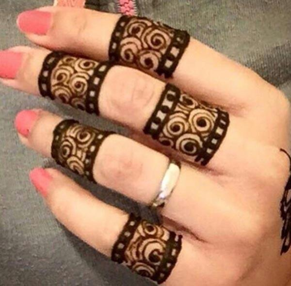 modern mehendi design for fingers