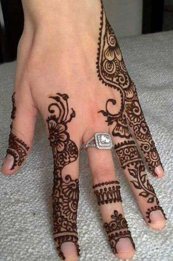 traditional patterns mehndi design for fingers