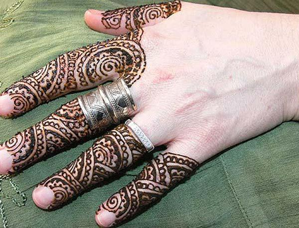 easy mehndi design for fingers