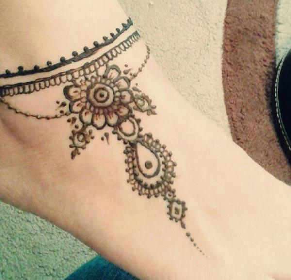 traditional mehndi design for ankle