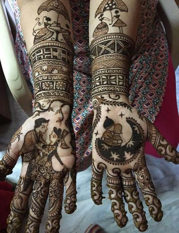 modern style mehndi design for bride bridal
