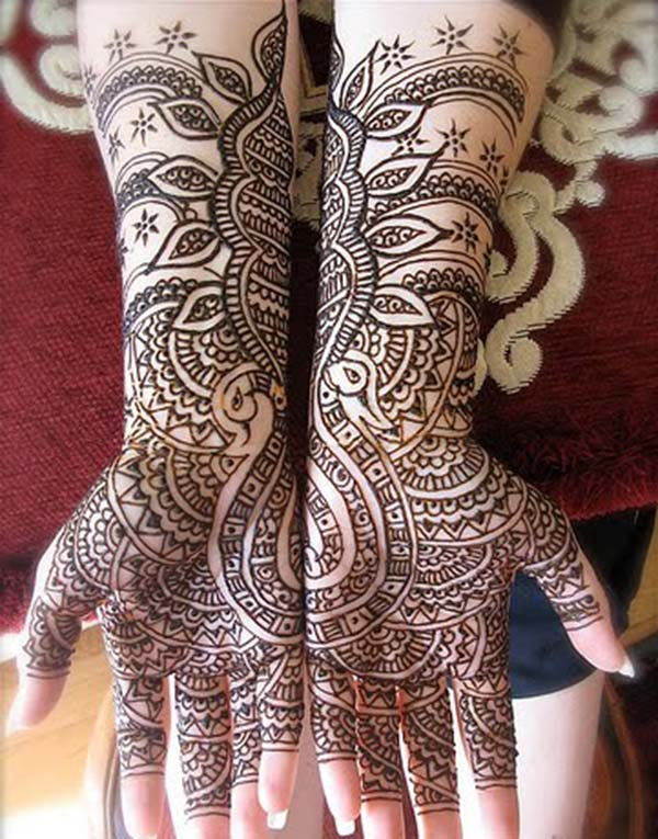 peacock patterns mehndi design for bride bridal