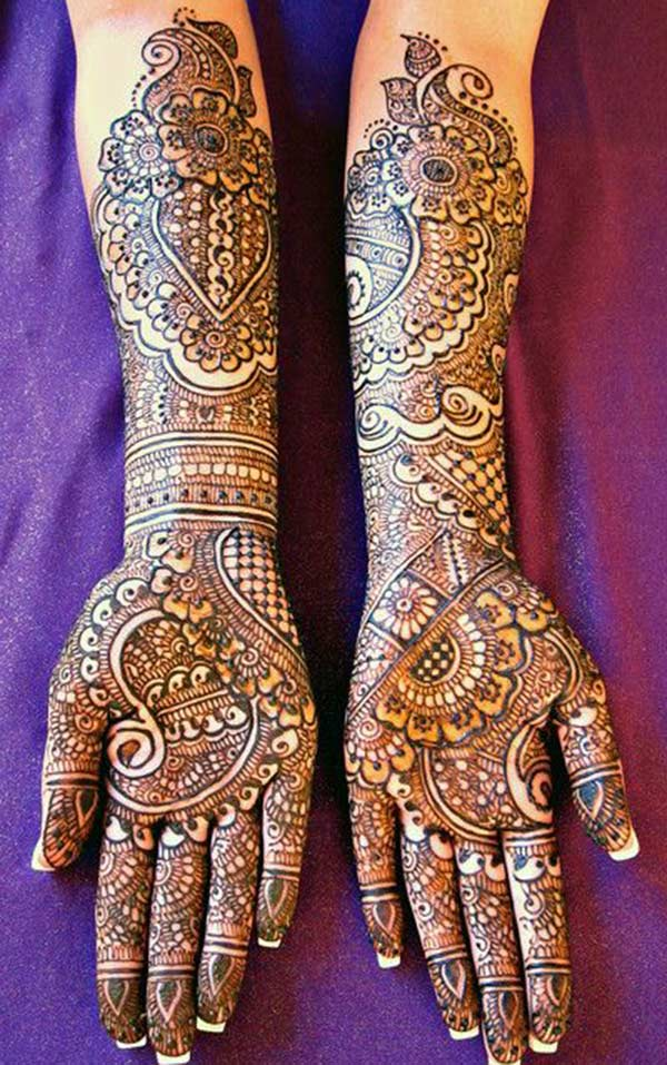 combination several patterns mehndi design for bride bridal