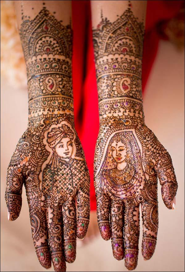 portrait mehendi design for bride bridal