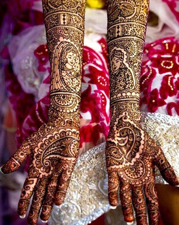 dulhan and doolha mehndi design for bride bridal