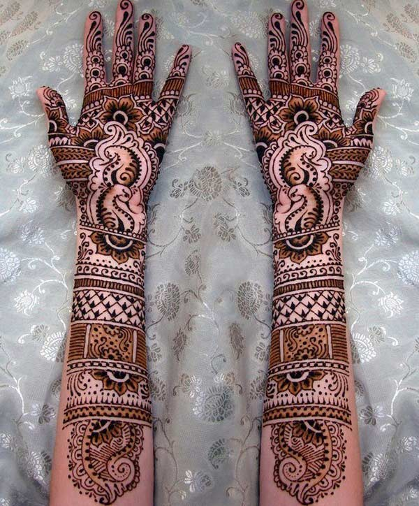 modern artistic mehndi design for full arm