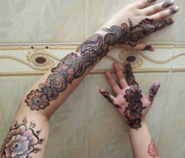 fabulous floral mehndi design for full arm