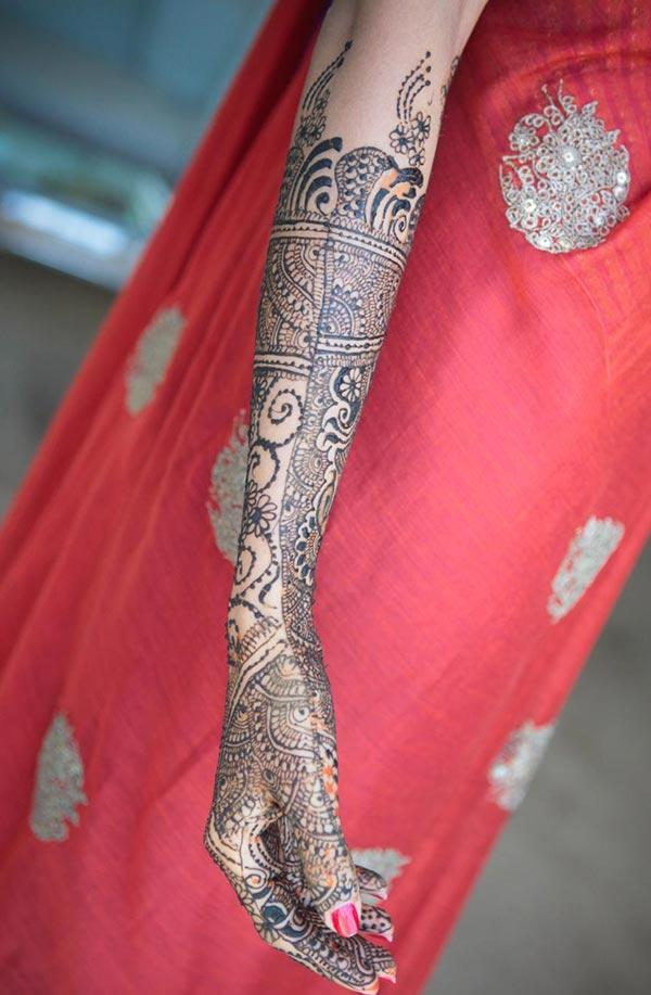 bride mehndi design for full arm