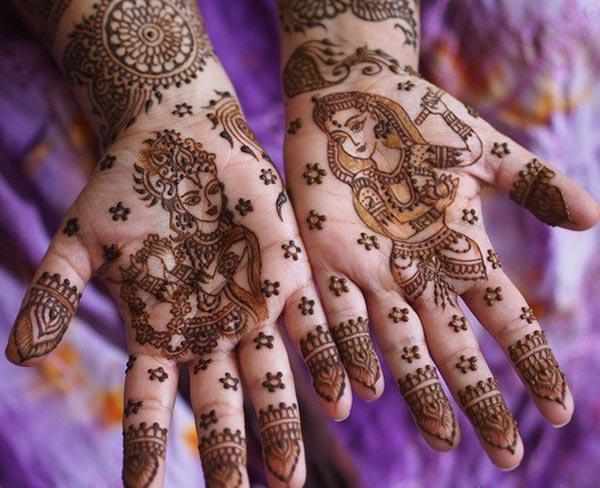 Krishna and Radha mehndi design for palm palms