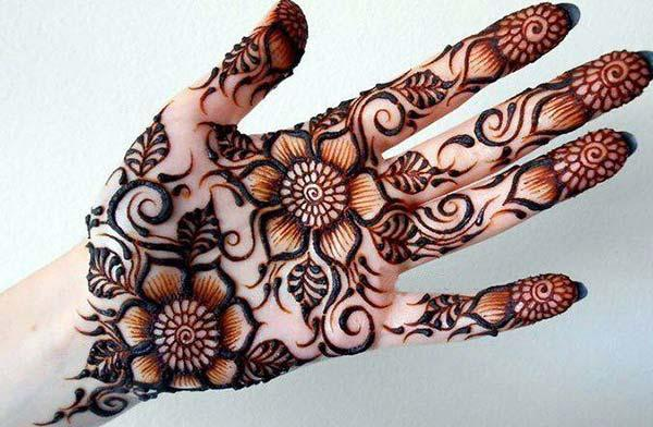 flowers and leaves mehndi design for palm-palms