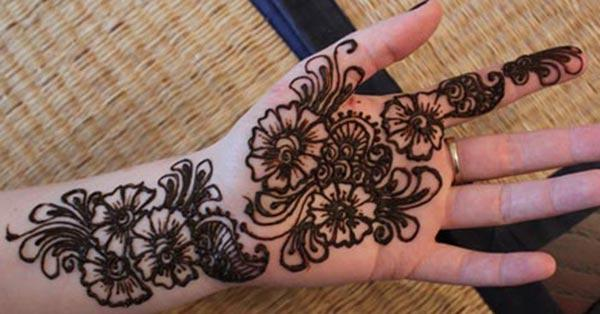 Floral mehndi design for palm-palms