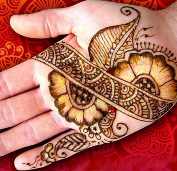 flowers leaves mehndi design for palm-palms