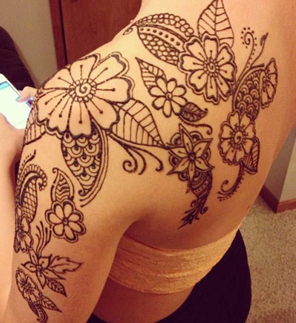 flowers and leaves mehendi design for shoulder
