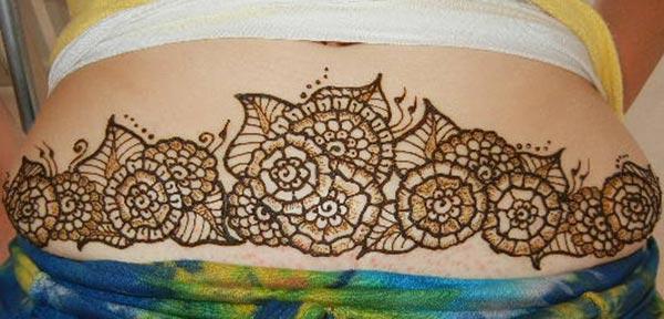flowers mehandi design for stomachs