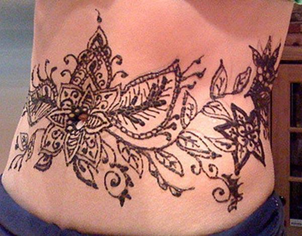 flowers and leaves mehndi design for stomachs