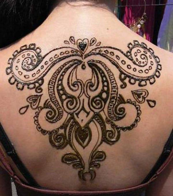 modern art Mehendi design on back