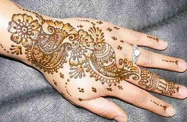 Mehendi design on back hand for Women