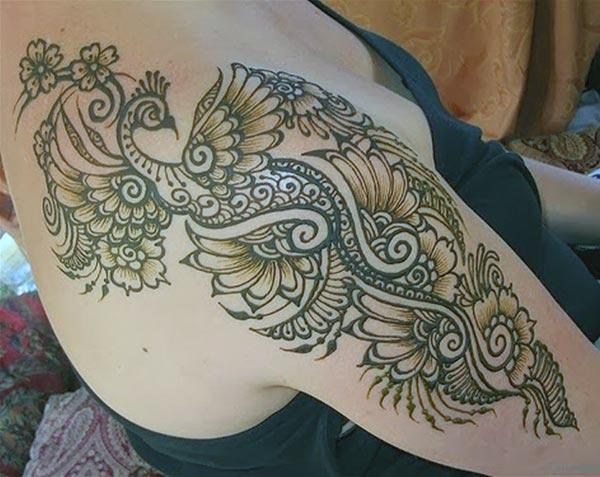 Floral and Peacock Mehndi Design on Shoulder