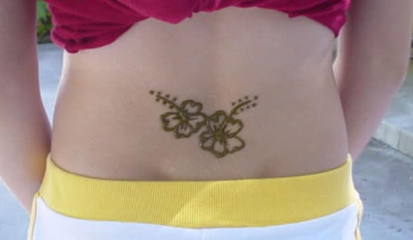 Flower Mehendi Design on Lower Back