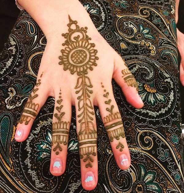 lovely traditional finger mehendi design of flowers leaves