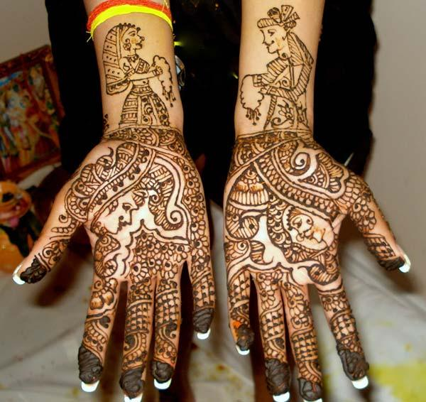 simple and elegant dulha and dulhan mehendi design for the brides