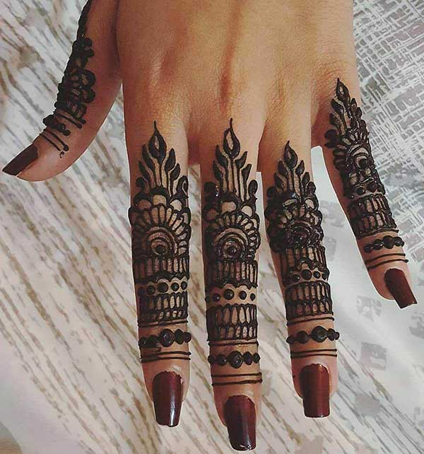 An ornamental mehendi design on fingers for Women