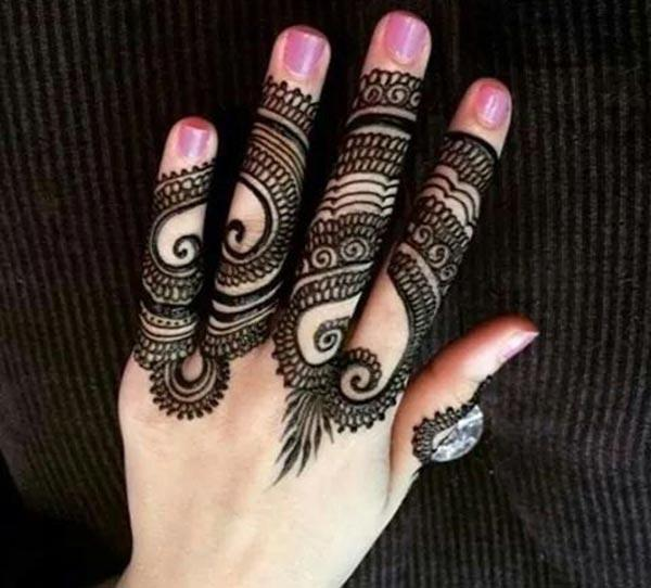 A hypnotizing mehendi design on finger for Ladies