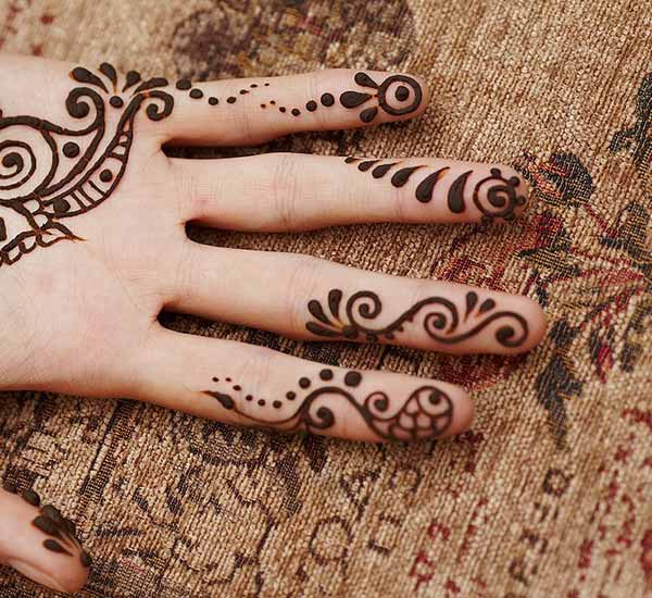 A spiral story on fingers using mehendi design for Ladies