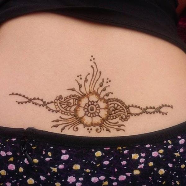 An elegant small lower back mehendi design for girls