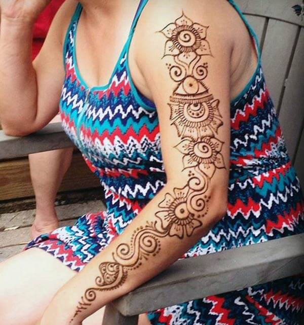 A creative mehendi design on full hand for Women