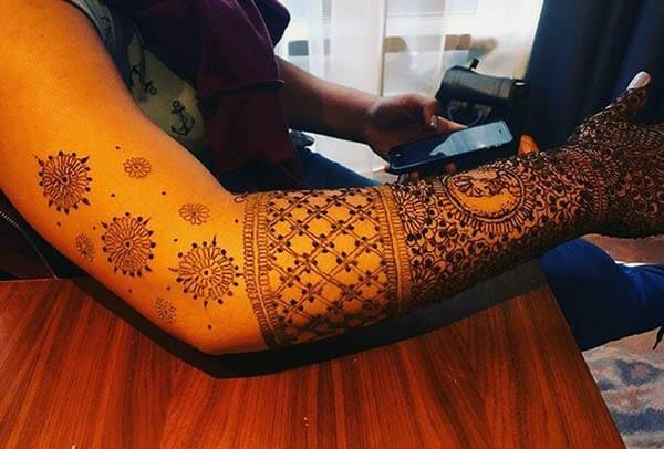 A mind blowing intricate mehendi design on full arm for Women