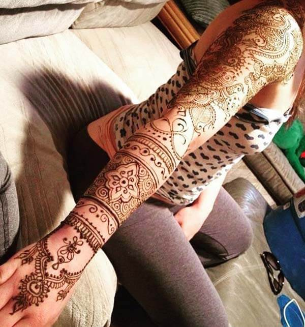 An enchanting full hand mehendi design for girls and ladies