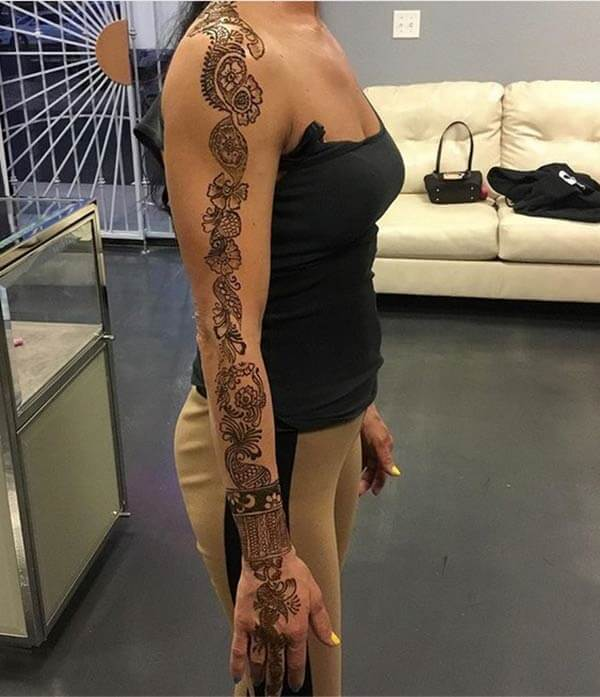 Awesome single line full arm mehendi design for Ladies and girls