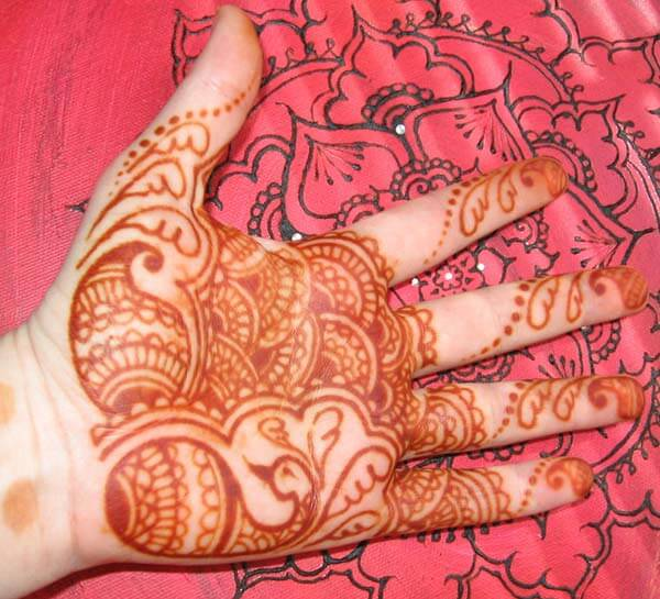 A creative palm mehendi design for Ladies